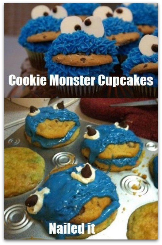 Cookie Monster Cupcake Fail